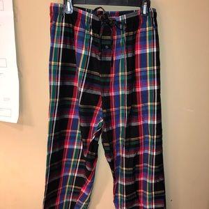 Plaid pajama pants; Polo